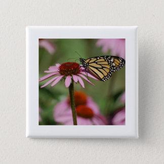 Monarch-Schmetterling und schwarze mit Augen Susan Quadratischer Button 5,1 Cm