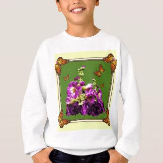 Monarch-Schmetterlings-Moos-Grün-lila Blumen Sweatshirt