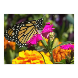 Monarchfalter auf rosa Ringelblumeeinladungen 12,7 X 17,8 Cm Einladungskarte