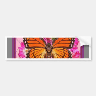 Monarchfalter-Rosa-Graue Blumengeschenke Sharles Autoaufkleber