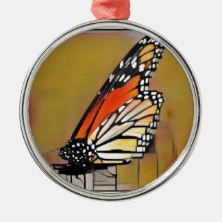 Monarchfalter Rundes Silberfarbenes Ornament
