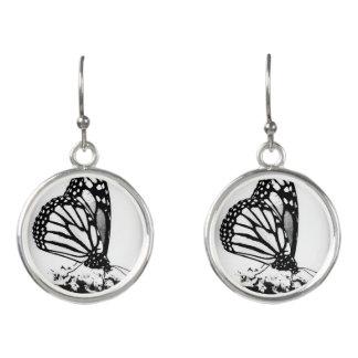 Monarchfalter, schwarz u. Weiß - Ohrringe