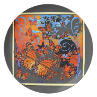 Monarchfalter-stürmisches Wetter-Kunst Teller