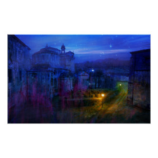 Monastery at night poster