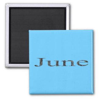 Monate des Jahres - Juni Quadratischer Magnet
