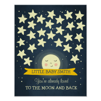 Mond-Babyparty Guestbook Sterne zum Mond Poster