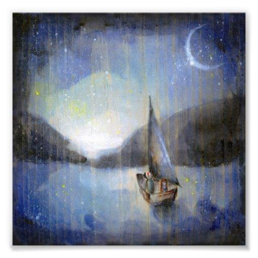Mond-Boot - Illustrations-Kunstdruck der Kinder Fotodrucke