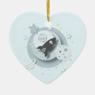 """Mond """"des Babys 1. Weihnachts"""" u. Stern-Dekoration Keramik Ornament"""
