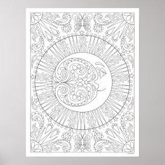 Mond-Farbton-Plakat - färbbares himmlisches Plakat