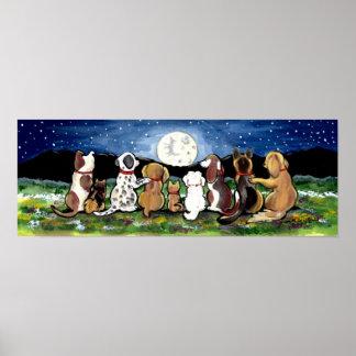 Mond-Hundenachtszenen-Plakat Dalmation Spaniel Poster