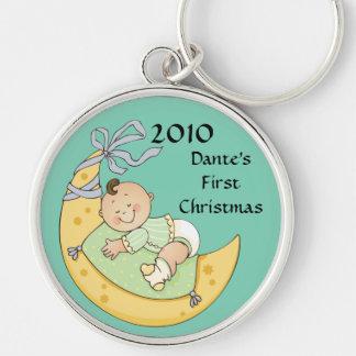 Mond-Jungen-Grün des Babys erstes Schlüsselanhänger