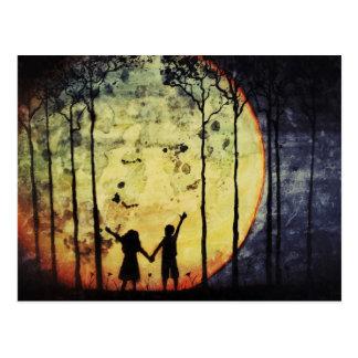 Mond-Kinder Postkarte
