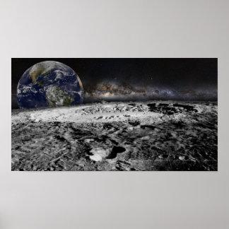 Mond mit Erde Poster