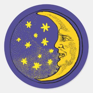 Mond Mondgesicht moon face Runder Aufkleber