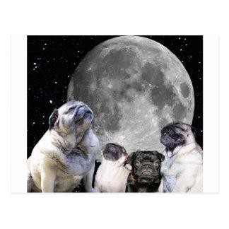 Mond-Mops des Mops-vier Postkarte