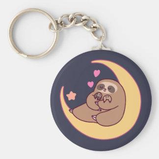 Mond-Mutter Sloth und Babys Schlüsselanhänger