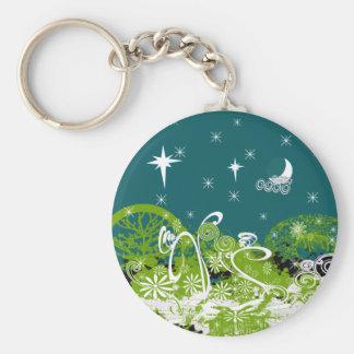 Mond-Stern-Strudel-Farbe platsch Schlüsselanhänger
