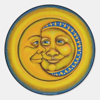Mond u. Stern im Liebe-Aufkleber! Runder Aufkleber