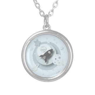 Mond u. Stern-runde hängende Halskette