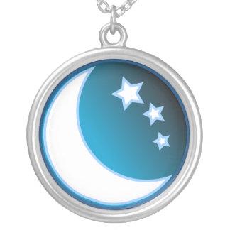 Mond u. Sterne Versilberte Kette