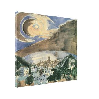 Mond über Barcelona durch Walter Gramatte Leinwanddruck
