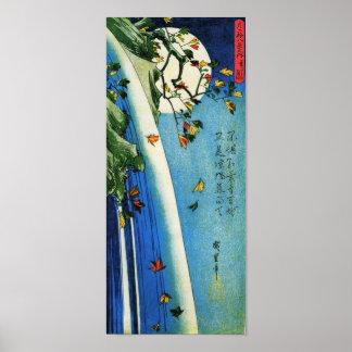 Mond über Wasserfall Hiroshige Japaner-schöner Poster