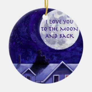 Mond-Uhr Keramik Ornament