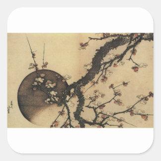 Mond und Blumen Quadratischer Aufkleber