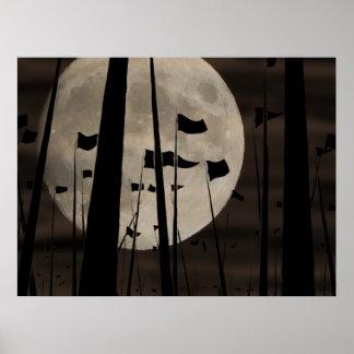 Mond und fahnen poster