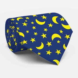 Mond-und Stern-Blau-Hintergrund Krawatte