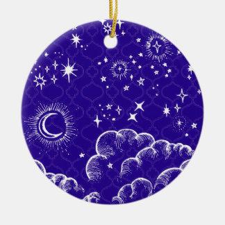 """""""Mond-und Stern-"""" runde Verzierung (WH/BLU/PUR) Keramik Ornament"""