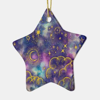 """""""Mond-und Stern-"""" Stern-Verzierung (Gold-Usw.) Keramik Ornament"""