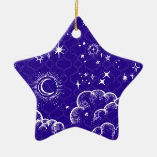 """Mond-und Stern-"" Stern-Verzierung (WH/BLU/PUR) Keramik Ornament"