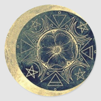Mond und Stern-Talisman Runder Aufkleber