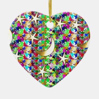 Mond und Sterne: Eleganter sternenklare Keramik Herz-Ornament