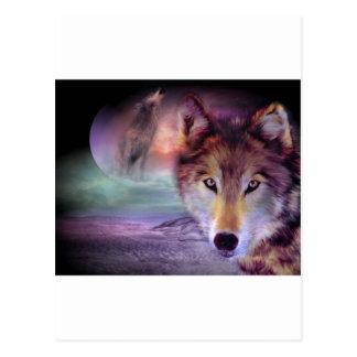 Mond-Wolf Postkarte
