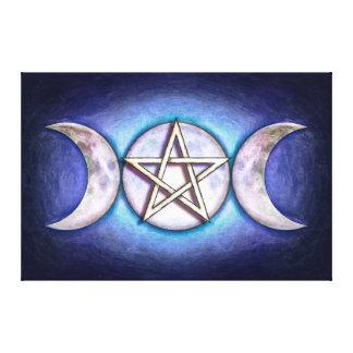 Mondpentagramm - Dreifachmond Leinwanddruck