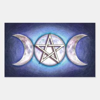 Mondpentagramm - Dreifachmond Rechteckiger Aufkleber