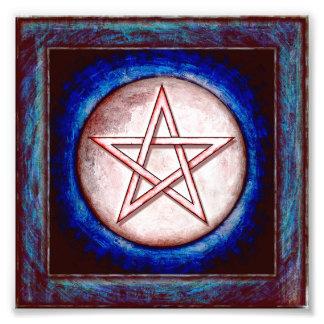 Mondpentagramm - Roter Glanz Fotodruck