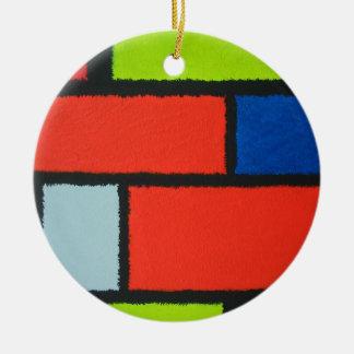 Mondrian Art-orange grün-blaues flockiges Keramik Ornament