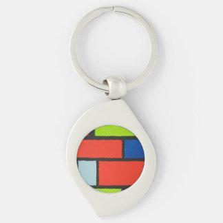 Mondrian Art-orange grün-blaues flockiges Schlüsselanhänger