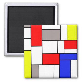 Mondrian Art Quadratischer Magnet