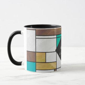 Mondrian Brown gelber aquamariner Druck Tasse
