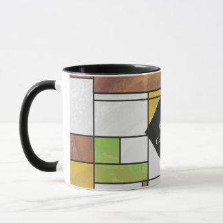 Mondrian Brown Gelbgrün-Druck Tasse