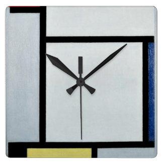 Mondrian - Composition, 1921 Quadratische Wanduhr