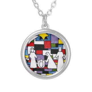 Mondrian Geburt Christi - De Stijl - Neoplasticism Versilberte Kette