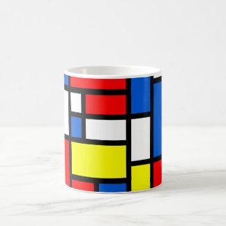 Mondrian gelbe rote blaue weiße Tasse