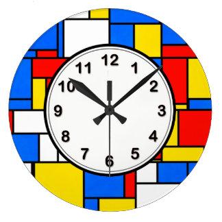 Mondrian inspirierte Art-rotes blaues gelbes Große Wanduhr