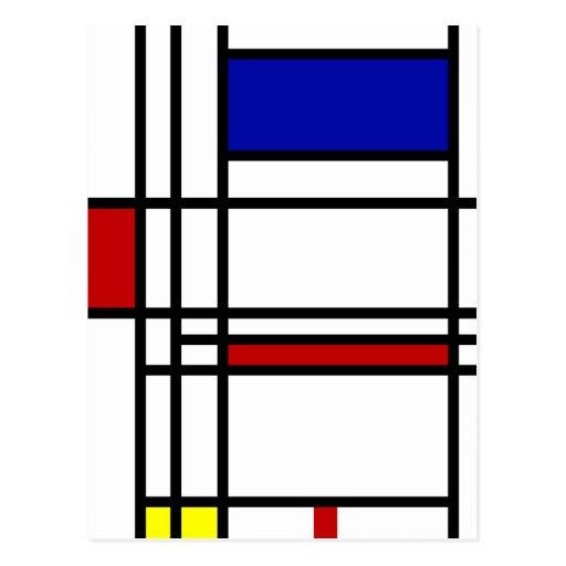 Mondrian moderne Kunst Postkarte