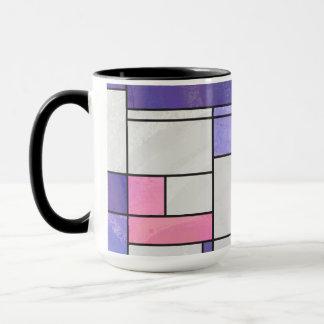 Mondrian rosa lila weißer Druck Tasse